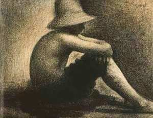 Georges Seurat - Seated Boy With Straw Hat
