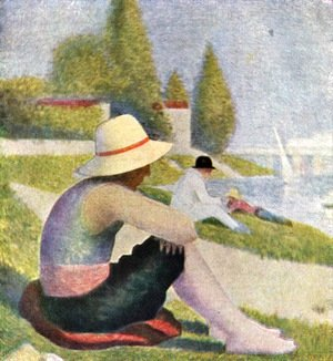 Georges Seurat - Bathing in Asnières  (detail)
