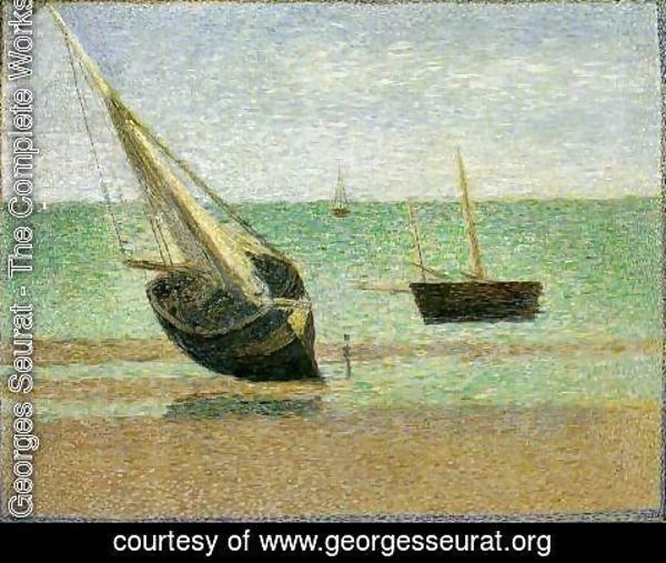 Georges Seurat - Boats. Bateux, maree basse, Grandcamp