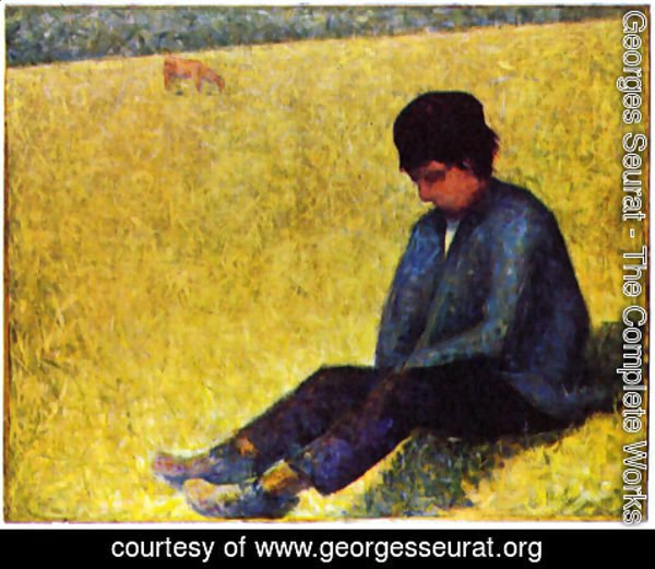 Georges Seurat - On a meadow sitting boy