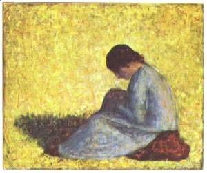 Georges Seurat - On a meadow sitting farmer girl