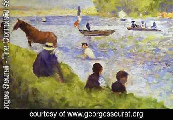 Georges Seurat - Horse And Boat (Study For Bathers At Asnieres) 1883-84