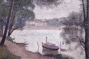 Georges Seurat - River Landscape with a boat