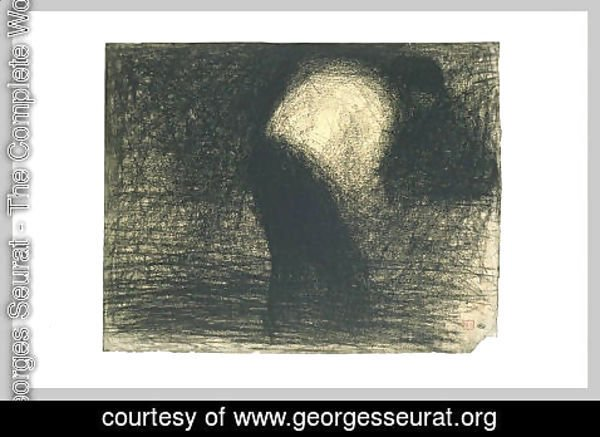Georges Seurat - At work the land man's face in profile, leaning forward