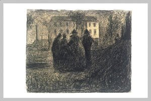 Georges Seurat - Group of figures in front of a house and some trees