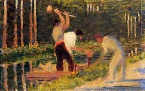 Georges Seurat - Men Laying Stakes