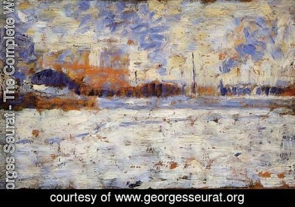 Georges Seurat - Snow Effect Winter In The Suburbs