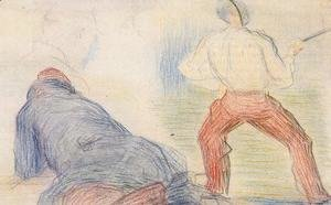 Georges Seurat - Soldier Fencing  Another Reclining